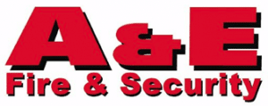 a and e fire and security logo