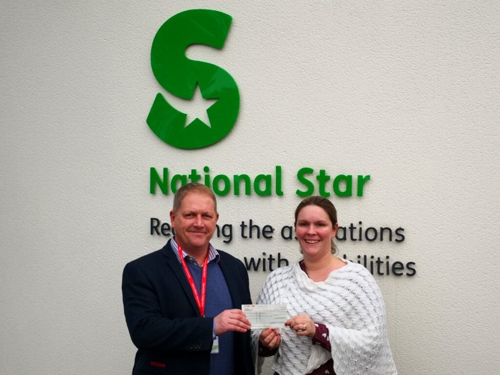 Stuart Baikie (PSU's Director of Sales) with Sally Gillespie (Area Fundraiser at National Star)