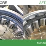 Before image of greasy train bearings. After image of clean train bearings.