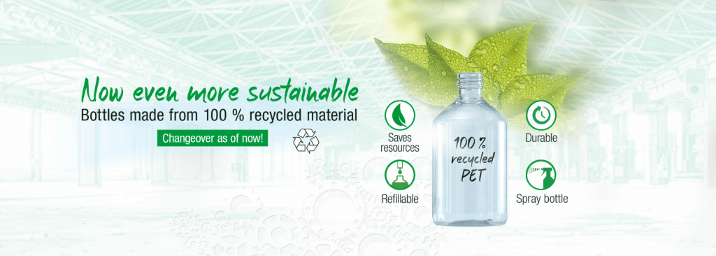 Graphic showing PET bottle as now even more sustainable. Green writing, green leaves.